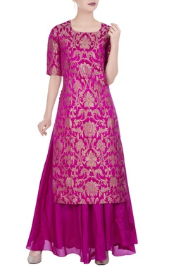 Floral brocade silk kurta with maxi skirt