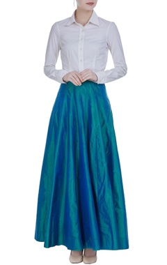 Tissue flared pleated maxi skirt