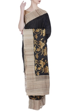 Tissue brocade woven saree & unstitched blouse