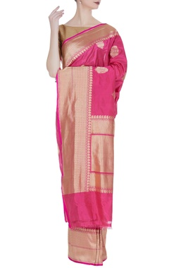 Woven banarasi silk saree with unstitched blouse