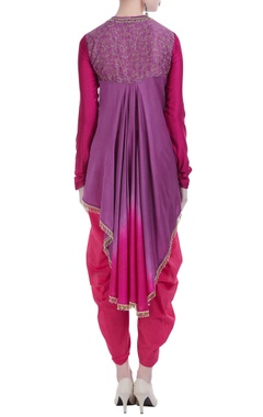 Embroidered high-low kurta with dhoti pants.