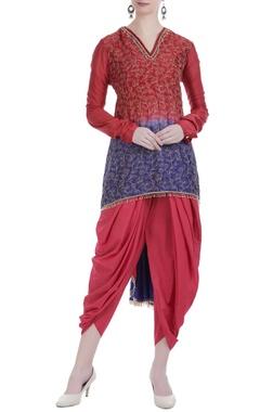 Embroidered kurta with gathered pleats and dhoti pants.