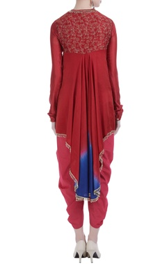Embroidered kurta with gathered pleats and dhoti pants.