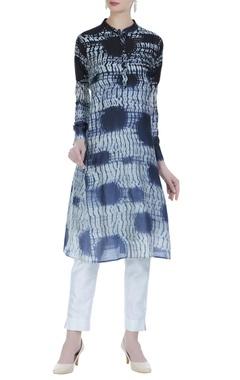 Handwoven cotton silk shibori kurta