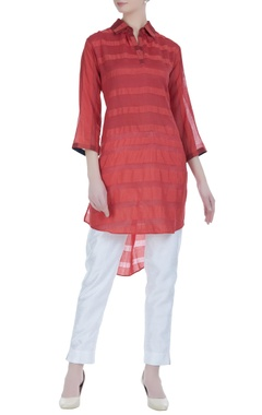 High-low stripped pattern tunic