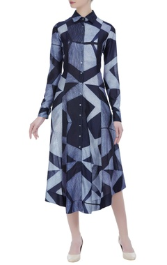 Asymmetric layered stitched shibori dress