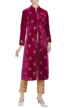 Anjul Bhandari Velvet mukaish work long jacket kurta