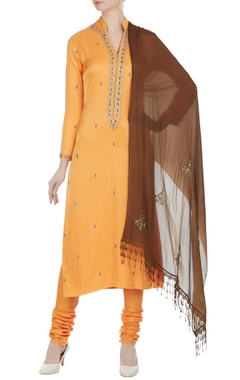 Anjul Bhandari Bead embroidered cotton silk kurta set