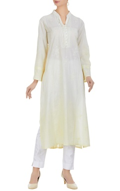 Anjul Bhandari Chikan embroidered kurta with pearls