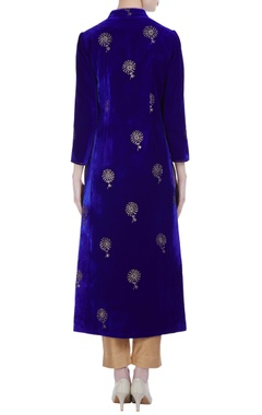 Velvet mukaish work long jacket kurta