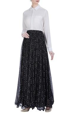 Mukaish embroidered pleated lehenga skirt