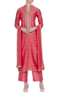 Chanderi badla embroidered kurta set