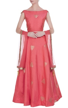 Embroidered lehenga with blouse and net dupatta.