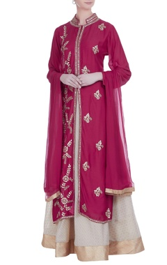 Embroidered kurta with lehenga set