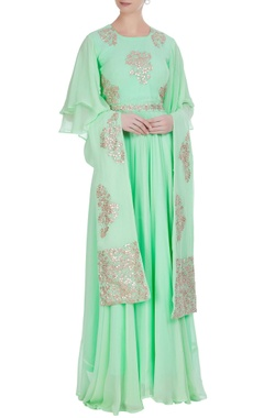 Gota embroidered anarkali kurta with dupatta