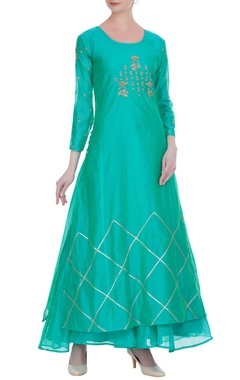 Pure chanderi zari kurta with inner anarkali