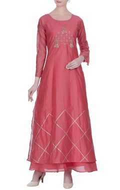 Pure chanderi silk zari embroidered kurta with anarkali
