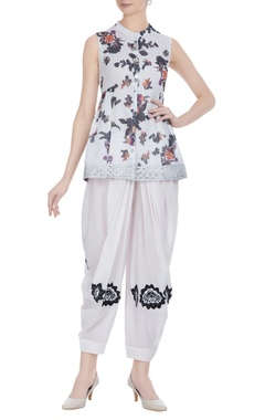 Floral printed short kurta-dhoti set