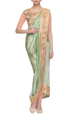 Gazal Gupta Sea green & peach embroidered dhoti sari