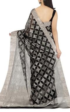 black & silver floral motif chanderi sari