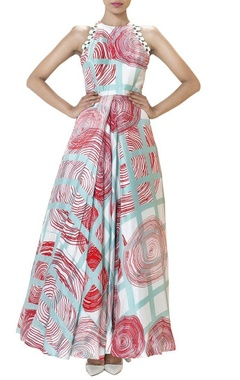 Ivory swirl printed pleated gown