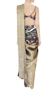 Gold italian jersery & brocade tailored saree