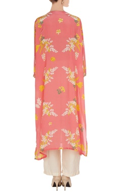 Pink floral printed kurta with pants