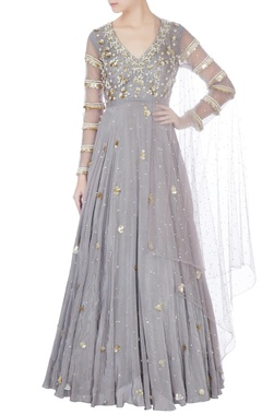 Bhumika Sharma Grey embellished anarkali kurta with dupatta