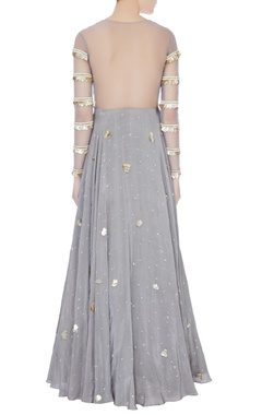 Grey embellished anarkali kurta with dupatta