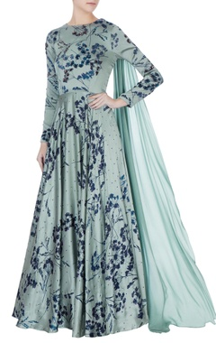 Bhumika Sharma Teal blue printed anarkali kurta with dupatta