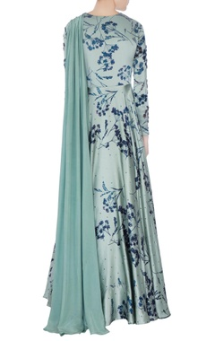 Teal blue printed anarkali kurta with dupatta