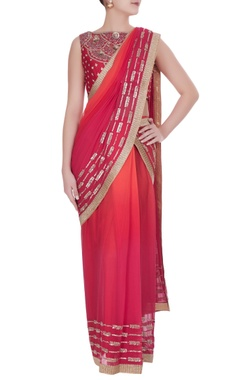 Rajat & Shraddha Ombre sequin & cutdana embroidered pre-draped sari with blouse