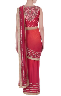 Ombre sequin & cutdana embroidered pre-draped sari with blouse