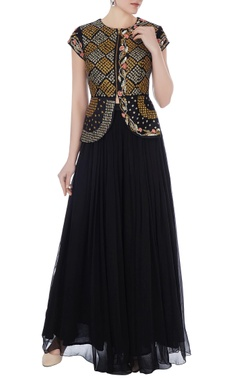 Yashodhara Black raw silk persian dori embroidered jacket with chiffon pleated palazzo pants