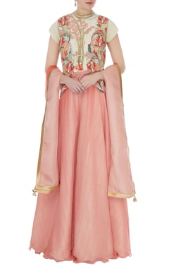 Yashodhara Peach & white raw silk persian dori jacket with palazzo pants, lace crop top & dupatta