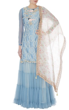 Yashodhara Blue raw silk moti jaal pearl work kurti & sharara set with dupatta