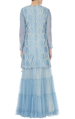 Blue raw silk moti jaal pearl work kurti & sharara set with dupatta