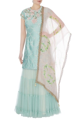Yashodhara Blue raw silk 3D floral embellished kurti & sharara set with dupatta