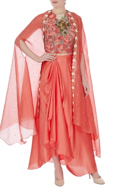 Yashodhara Light brick raw silk persian dori & embroidered blouse with skirt and bel embroidered cape