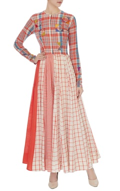 Divya Sheth Multi-colored checkered print long anarkali tunic with white cigarette pants