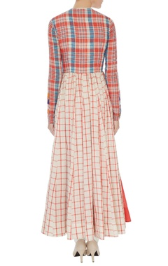 Multi-colored checkered print long anarkali tunic with white cigarette pants