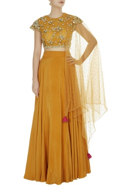 Bhumika Sharma Mustard yellow crepe silk lehenga set