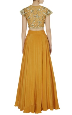 Mustard yellow crepe silk lehenga set