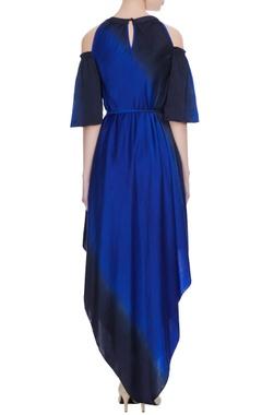 Royal blue & navy blue satin handkerchief hemline cold-shoulder dress