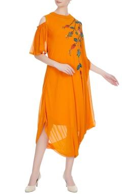 Urvashi Joneja Sunrise orange georgette sequin embroidered draped dress