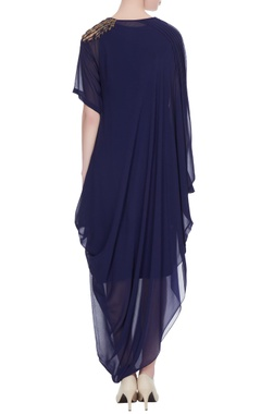 Navy blue georgette draped style dress