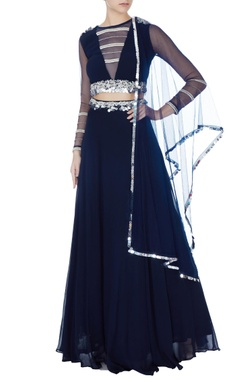 Bhumika Sharma Navy blue embroidered lehenga with blouse & dupatta