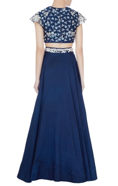 Navy blue sequin embellished lehenga with blouse & dupatta