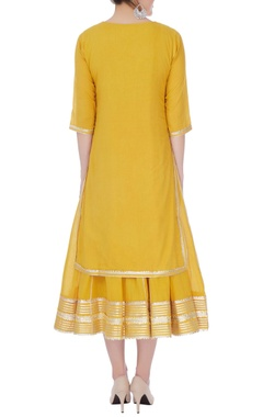 Mustard yellow cotton  gotta patti anarkali
