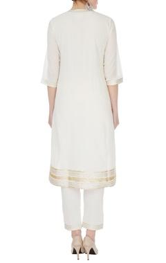 ivory cotton mullmull gotta patti kurta with pants & dupatta